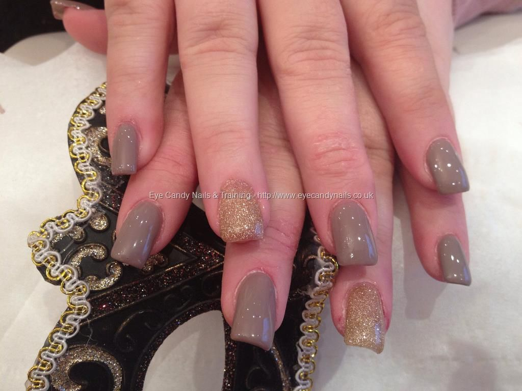 Acrylic nails with wild mink gel polish and gold glitter | Nails ...