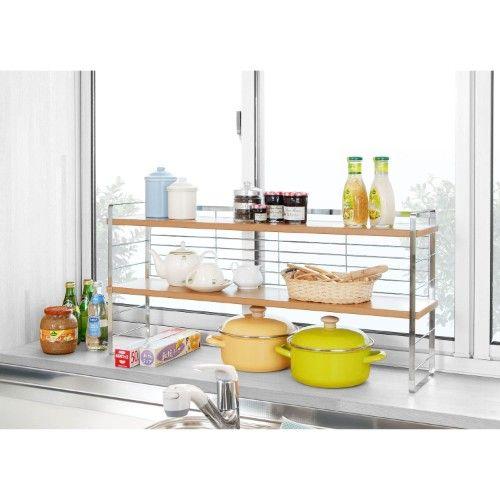 出窓を収納スペースに有効活用 木 棚 キッチン 出窓 出窓