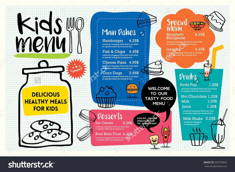 Kids menu templates | menus | Pinterest