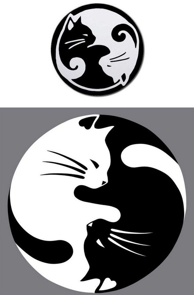 katzen tattoo ideen vorlage yin yang weisse schwarze katze tattoo motive pinterest katzen. Black Bedroom Furniture Sets. Home Design Ideas