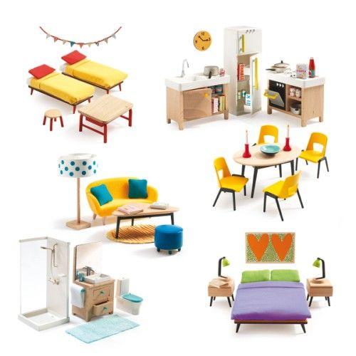 mobilier pour 6 pieces de maison de poupees djeco pour enfant de 4 ans a 10 ans oxybul eveil et jeux