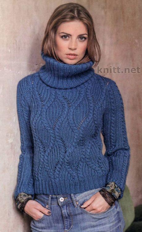 вязаный пуловер синего цвета спицами пуловер синего цвета с