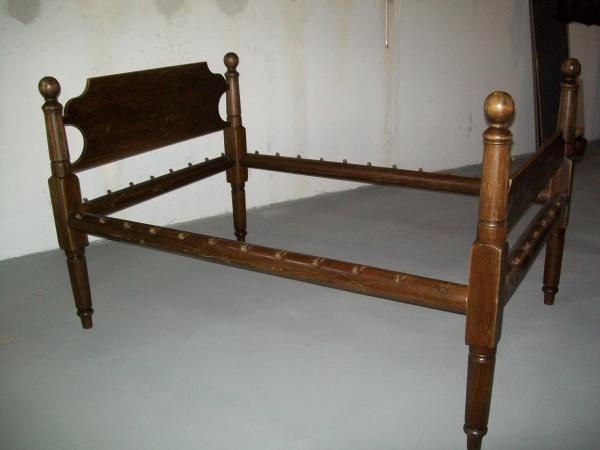 Architectural Salvage Wood Rope Bed Rail