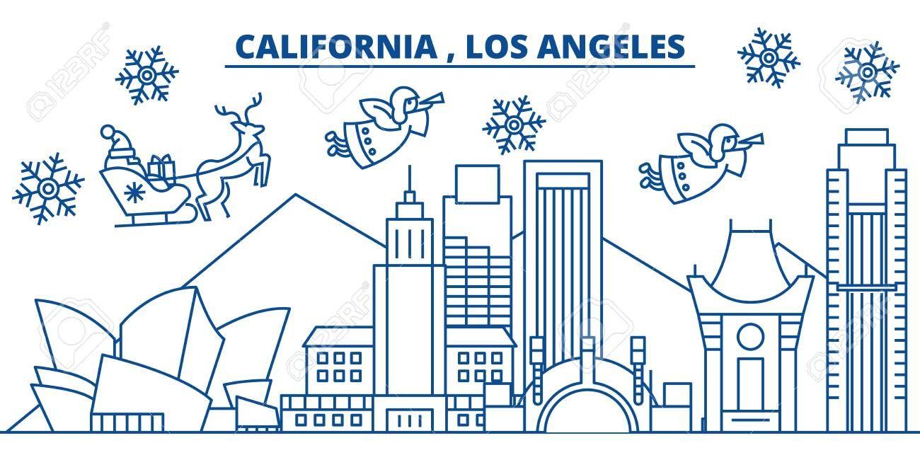 USA, California, Los Angeles winter city skyline. Merry