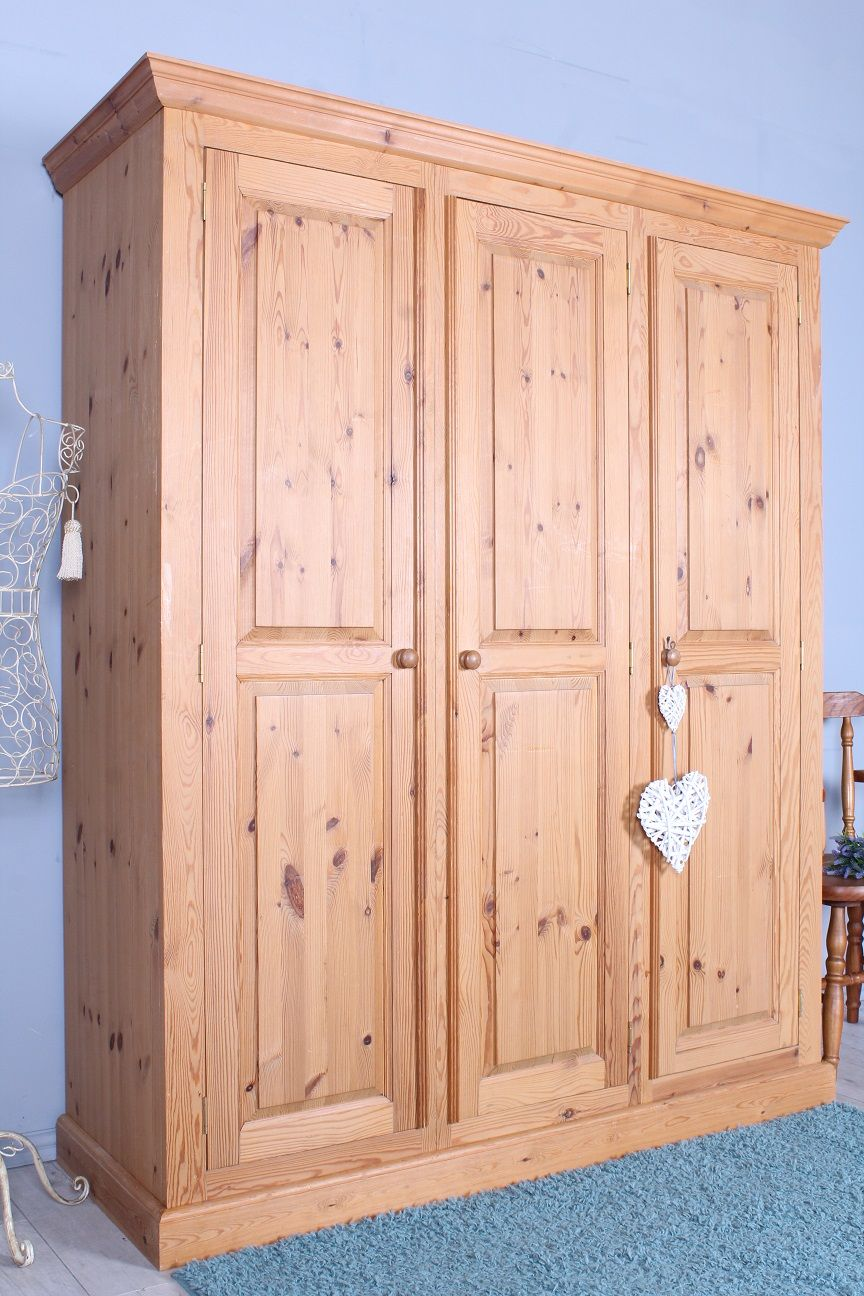 325 Triple Pine Wardrobe Comes In 5 Sections Light Colour Waxed Free Local Delivery And Assembly Many M Pine Furniture Pine Wardrobe Furniture