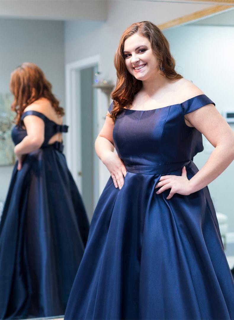 plus size prom dress, off the shoulder navy blue prom dress ...