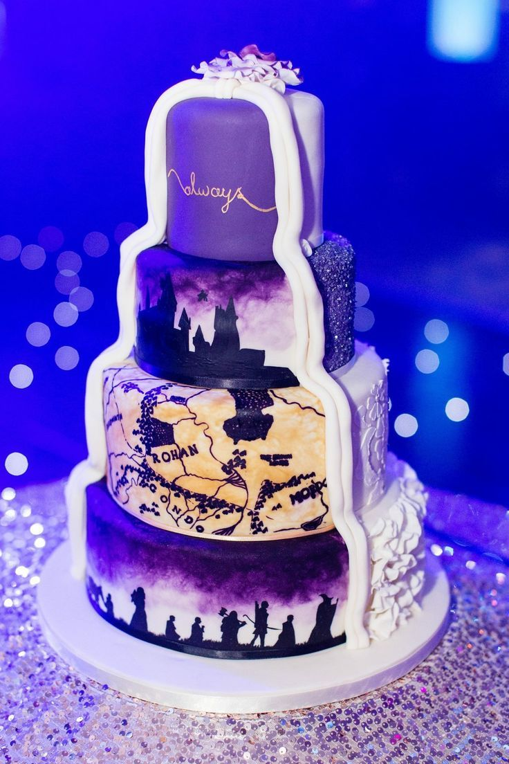 Harry potter and lord of the rings wedding cake