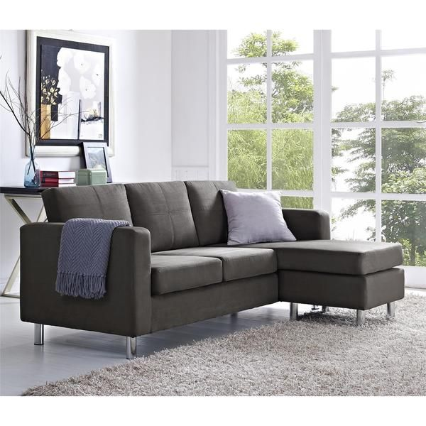 Small Spaces Grey Microfiber Configurable Sectional Sofa | Overstock.com Shopping - The Best Deals  sc 1 st  Pinterest : overstock sectionals - Sectionals, Sofas & Couches