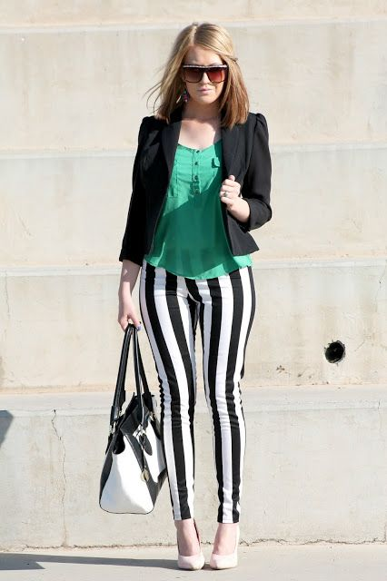 Black And White Striped Pant Suit