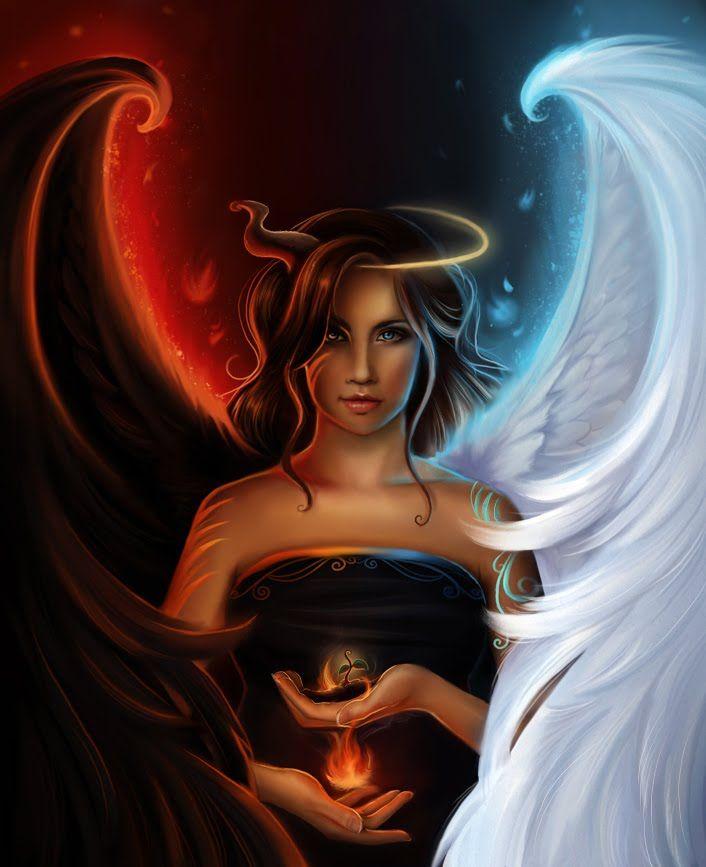 Znalezione obrazy dla zapytania double me painting demons angels in one