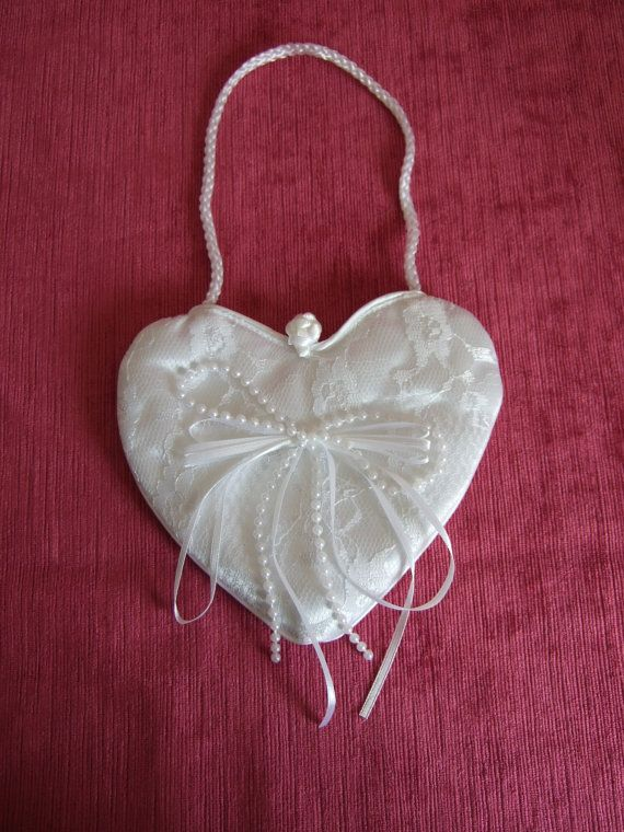 White Lace and Satin Heart Shaped Bag. Holy by GlamorousLadies