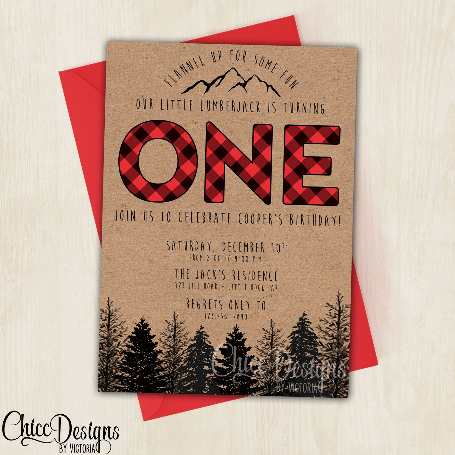 Lumberjack Birthday Party Invite - First Birthday - Wilderness ...