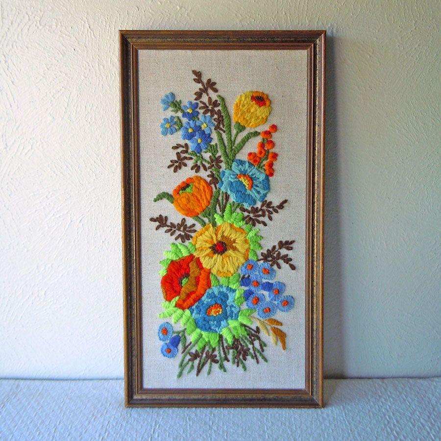 Vintage Framed Embroidery Needlework Embroidery Flowers Pattern Framed Embroidery Needlework