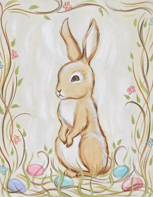 How To Paint A Rabbit : paint, rabbit, Paint, Bunny, Uptown, Easter, Canvas,, Painting,, Canvas, Painting
