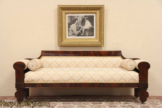 American Empire 1820 Antique Flame Mahogany Sofa - Harp Gallery Antique Furniture
