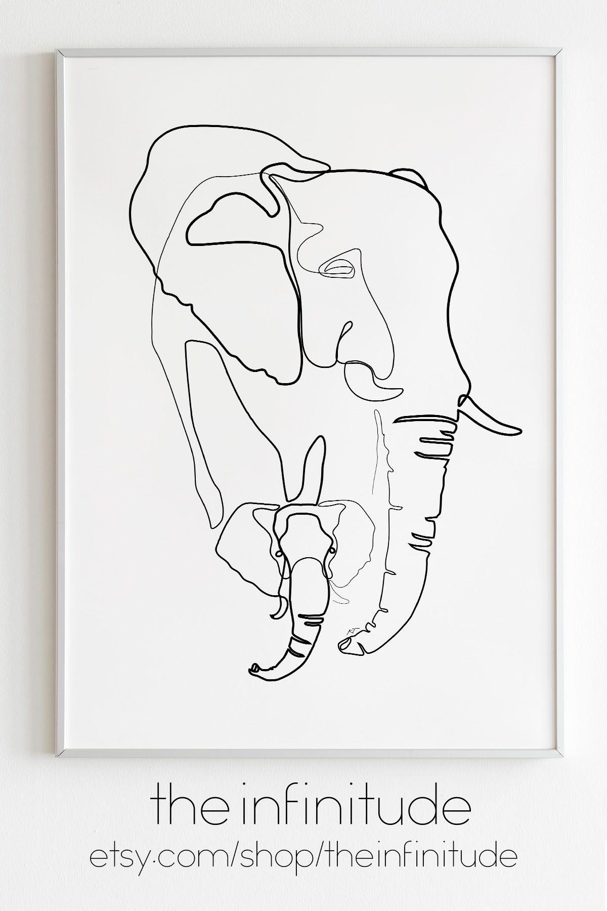 Minimalist Elephant Drawing: Boho Wall Decor Cuddling Couple Minimalist One Line
