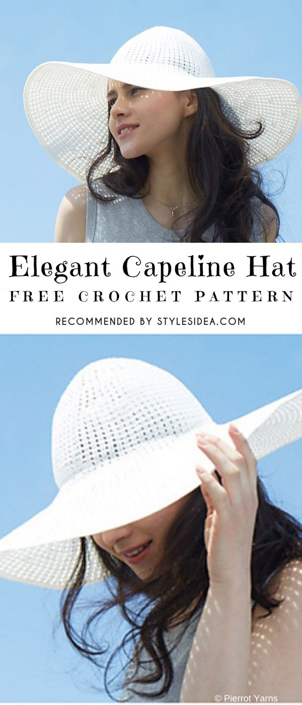 Elegant Capeline SunHat Free Crochet Pattern | Gorros, Tejido y ...