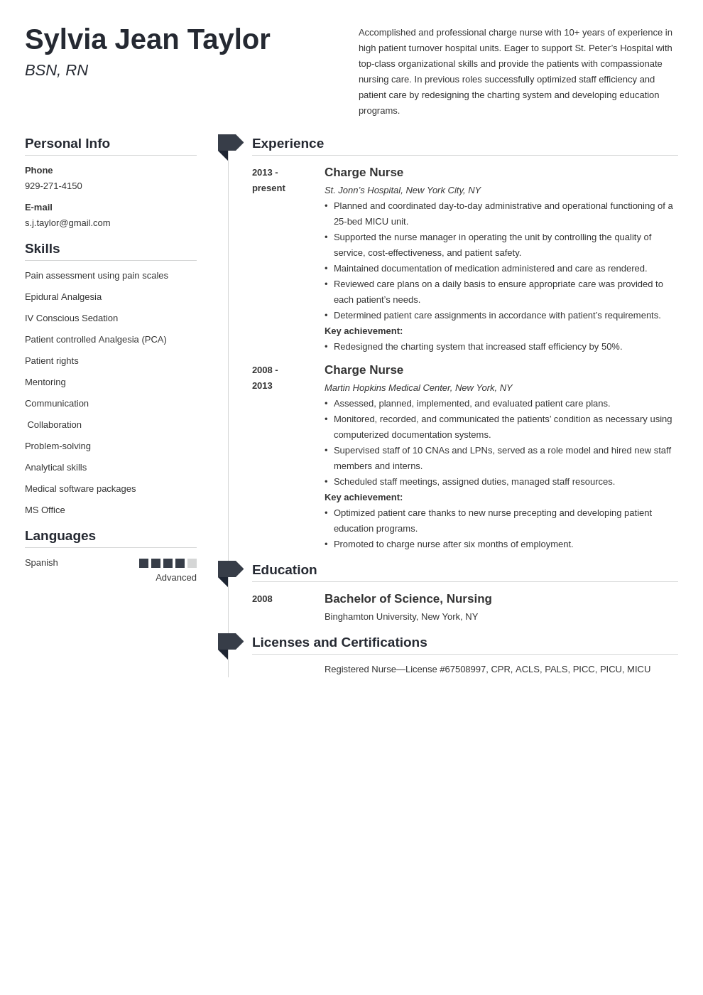 charge nurse resume example template muse in 2020