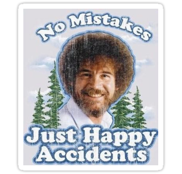 No Mistakes Just Happy Accidents Stickers By Beccaisnotcool Redbubble Paint Expert Decorating Blogs Shirt Embroidery