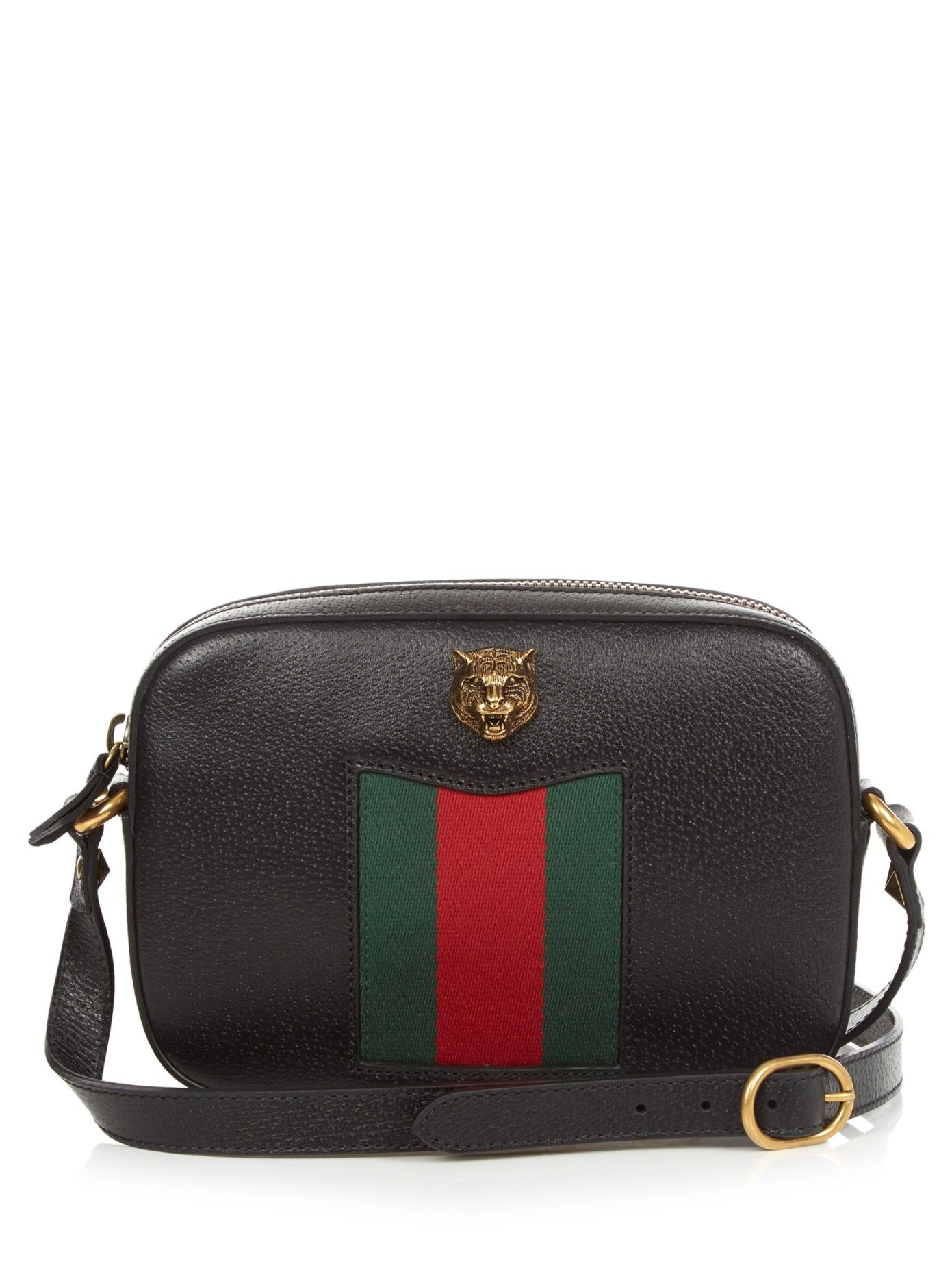 e65eee5c8377f0 Gucci's black grained-leather Animalier bag blends classic house codes with  a new, whimsical charm.