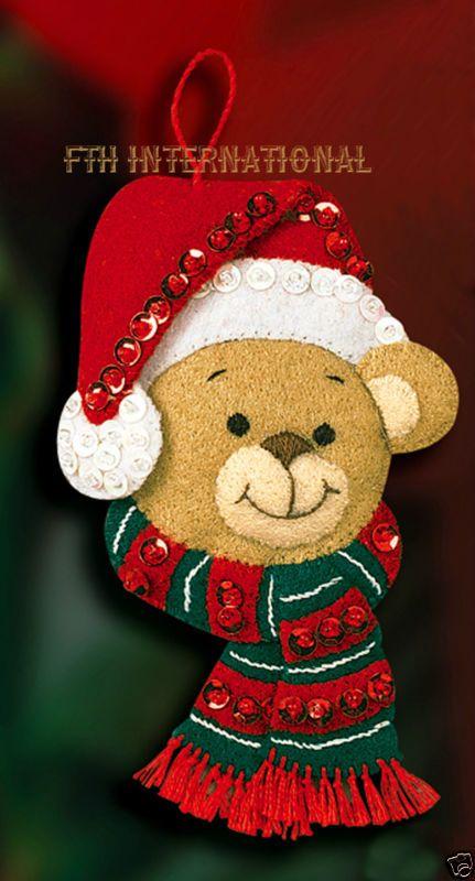 Teddy Swing Bucilla Santa /& Candy Cane ~ Felt Christmas Wall Hanging Kit #86154
