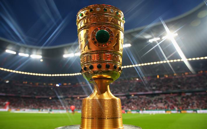 Download wallpapers 4k, German football cup, trophy, gold