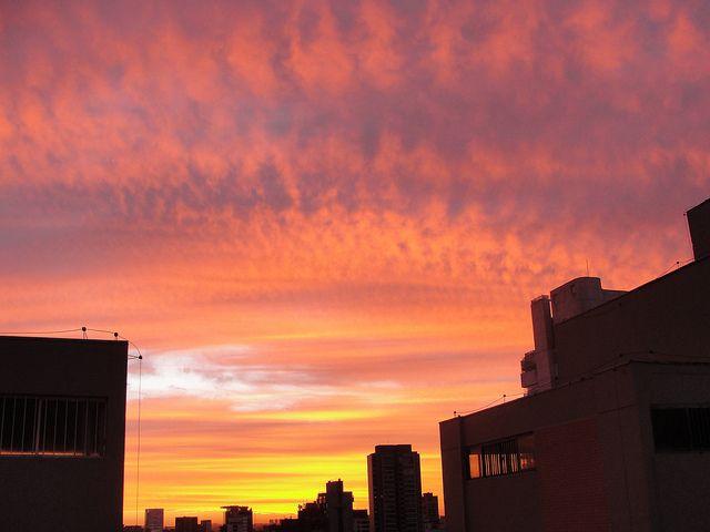 pink orange and purple sky in sao paulo