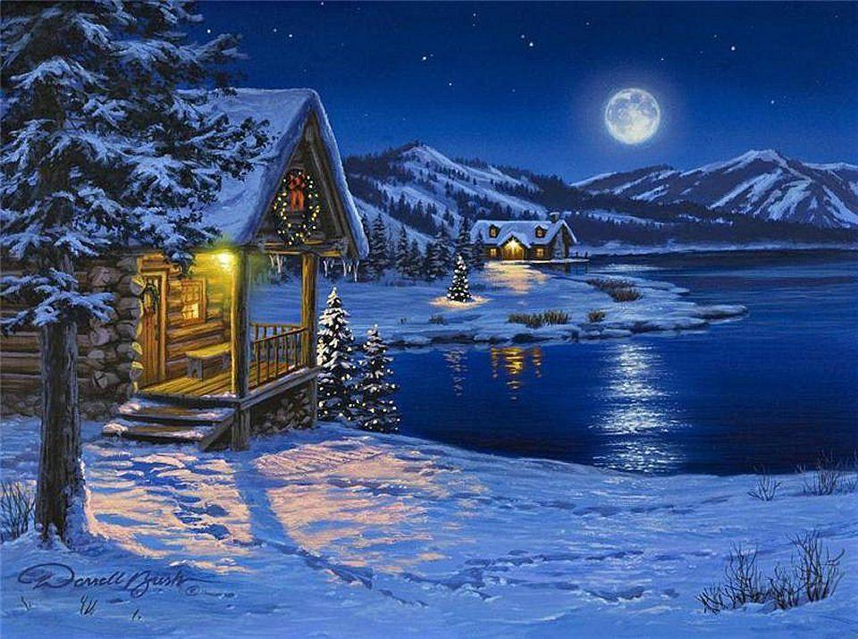 Silent Night Click For A Beautiful Picture Christmas Landscape Winter Wallpaper Winter Wallpaper Desktop
