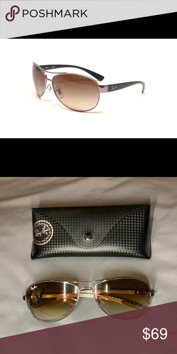 7b8eaab3a6 Ray Bans Gradient Aviators - junior Brown gradient lenses with dark grey  frame. Comes with