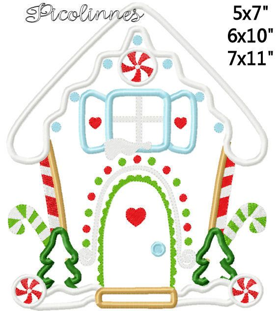 Christmas Gingerbread House Machine Applique Embroidery Pattern ...