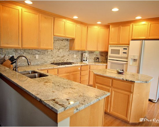 Kitchen Design Adorable Conventional With Wooden Cabinet Table Also Island Colonial Gold Granite Countertops