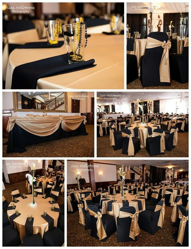 Great black and gold tables for a wedding or a 80th for 80th decoration