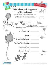 Earth Day With The Lorax-Dr. Seuss Activity Worksheet | school ...