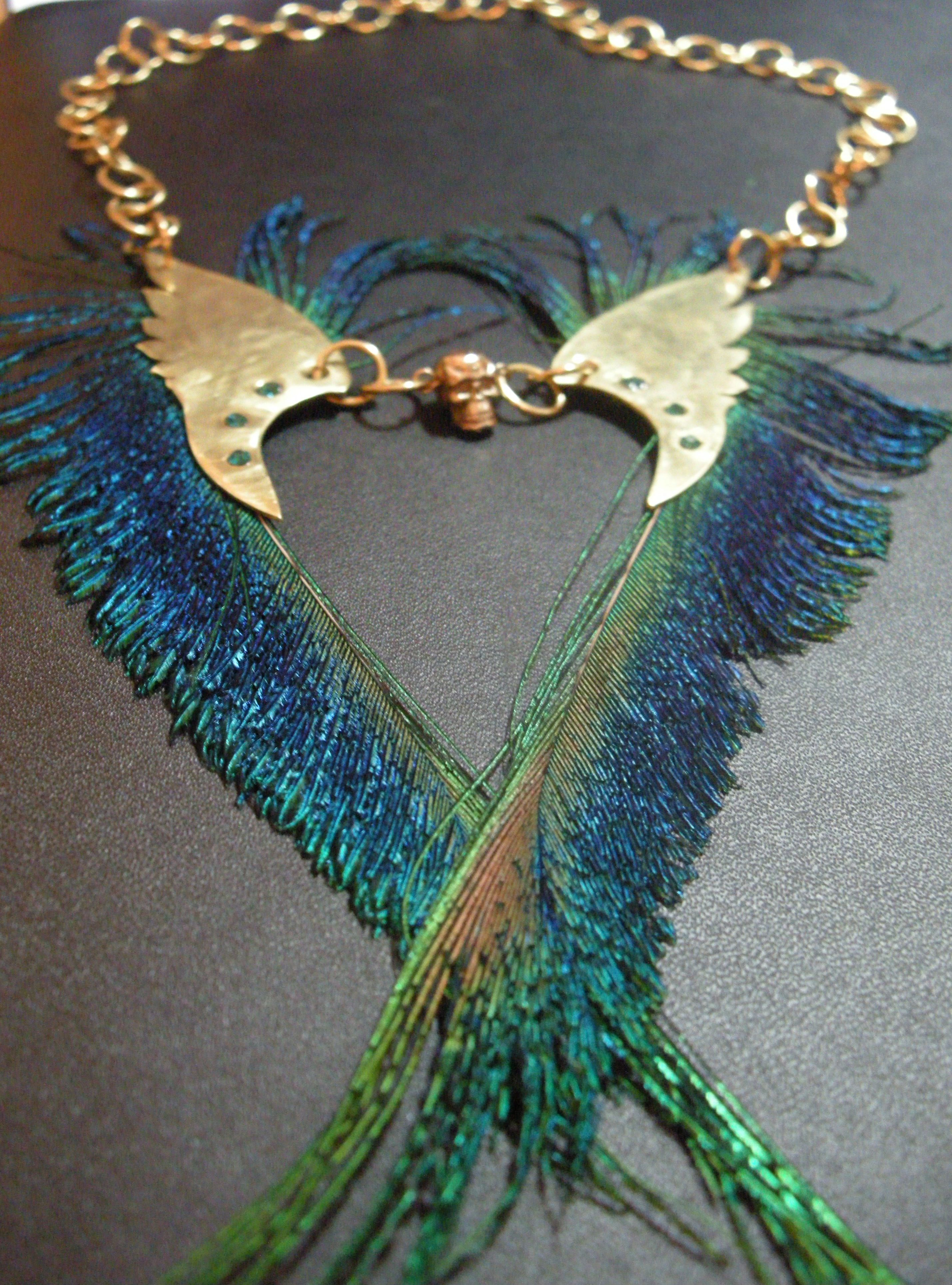 peacock libertyblueonline products necklace crystal feather hematite black