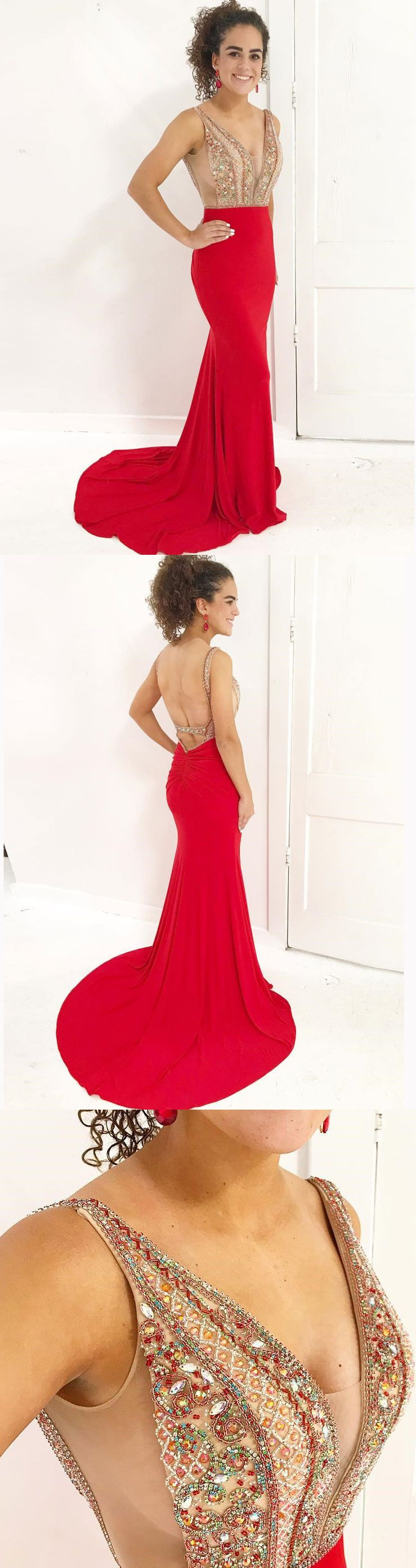 Sexy seethrough beaded mermaid prom dressesbackless mermaid red