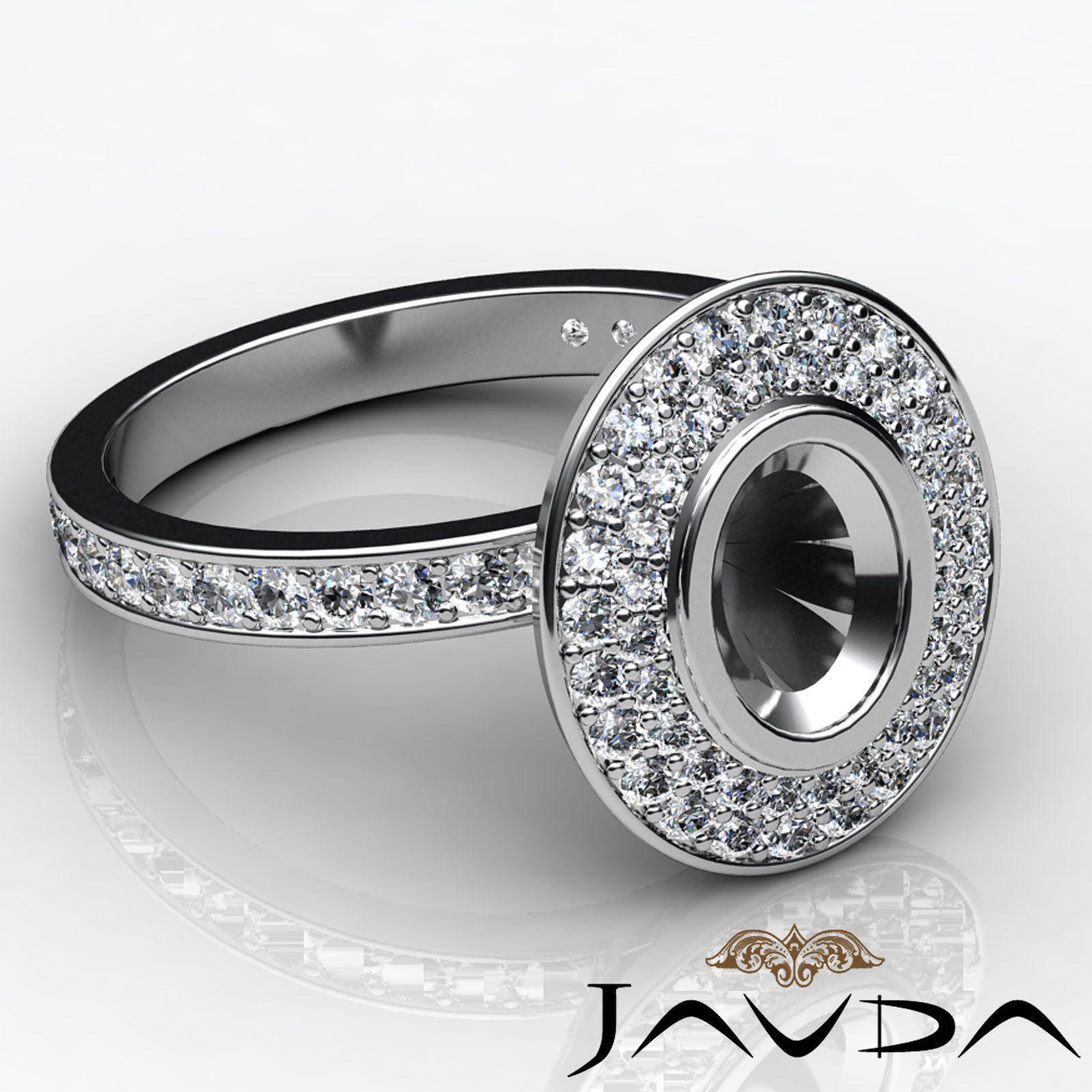 ebay wedding rings sets Diamond Engagement Oval Shape Semi Mount Halo Pave Ring 14k White Gold 0 75ct eBay