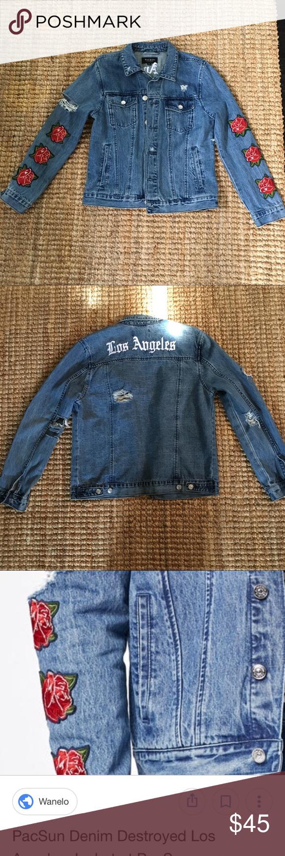 Rare Pacsun Denim Rose Embroidered Jacket In 2018 My Posh Picks