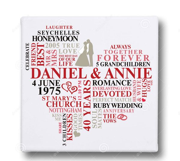 Personalised word art heart wedding anniversary canvas print