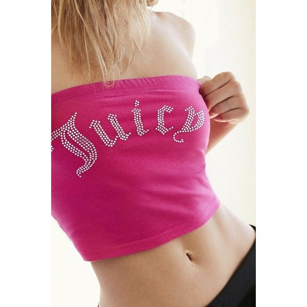 9217a21984 Juicy Couture For UO Gothic Crystal Jersey Knit Tube Top ( 24) ❤ liked on  Polyvore featuring tops