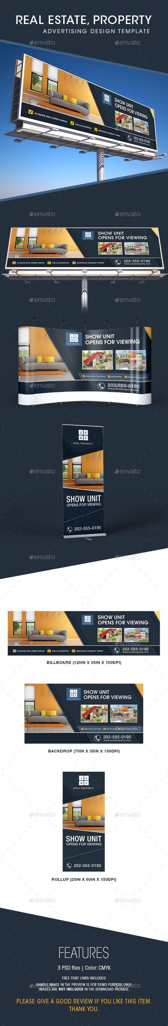 Real estate billboard design samples - Real Estate Billboard Backdrop Rollup Design