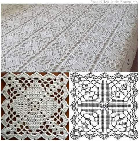 Quadrados de croche para colcha com grafico