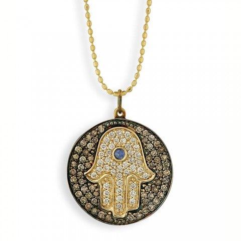 Yellow-Gold & Diamond Hamsa Medallion