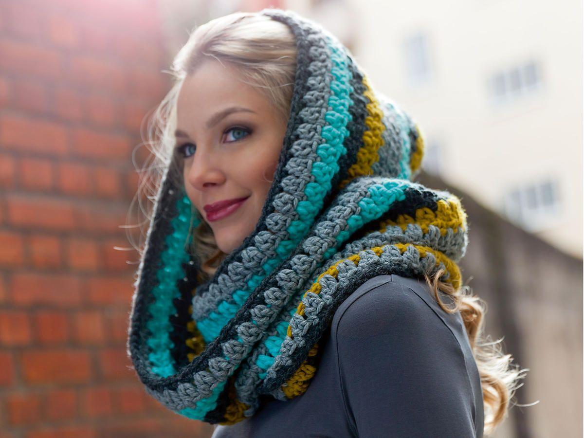 Schals häkeln: Warme Kapuzenschals für den Winter | Schal häkeln ...