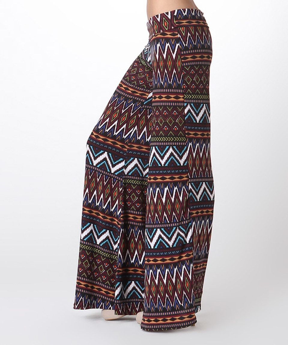 This Burgundy Fair Isle Palazzo Pants by BOLD & BEAUTIFUL is perfect! #zulilyfinds