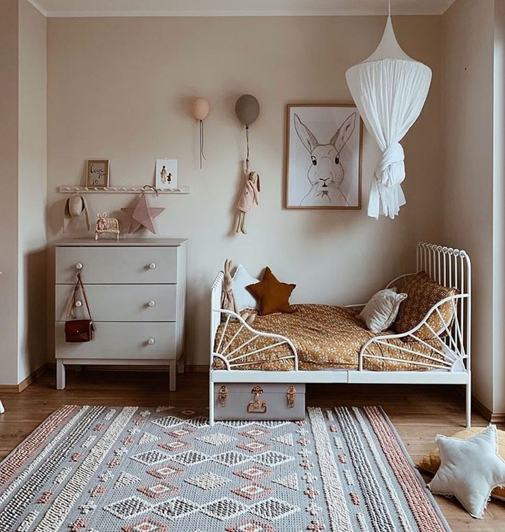 #kinderzimmer Interior & Scandinavian Decor on Instagram: How gorgeous is this little girls room by @peschkart  Night night all  . #kidsroom #kidsdecor #kidsroomdecor #kidsroominspo