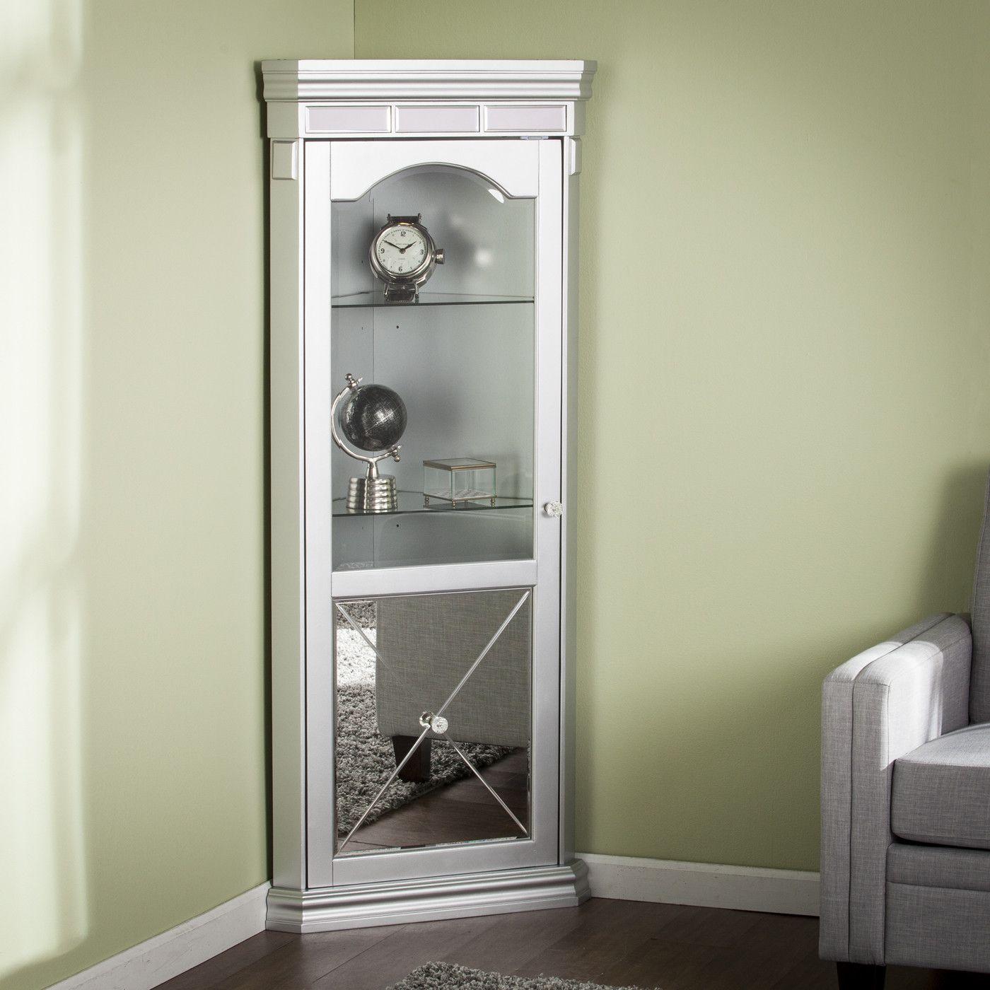 Adriana Lighted Corner Curio Cabinet Corner Curio