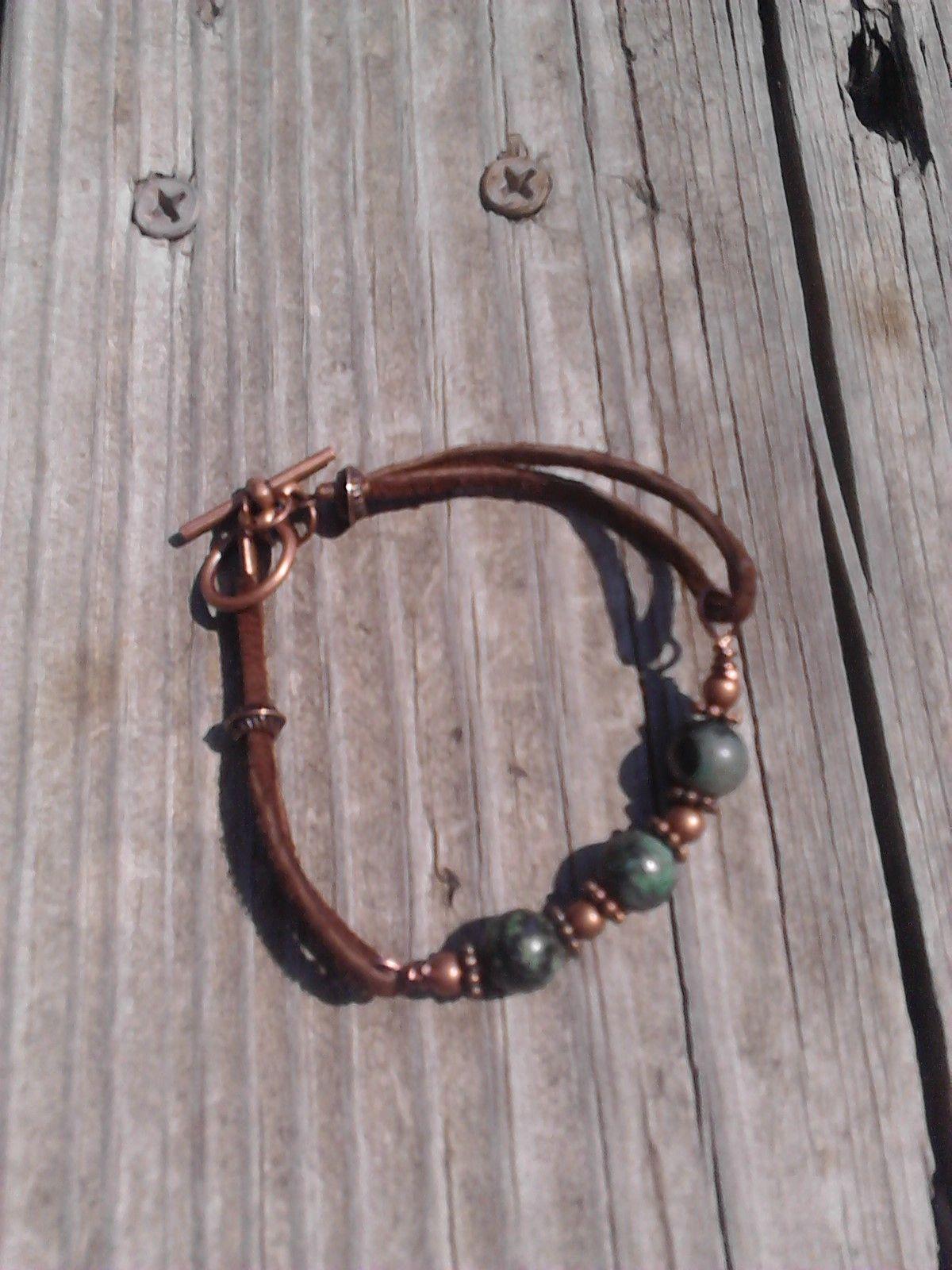 green jasper copper and leather