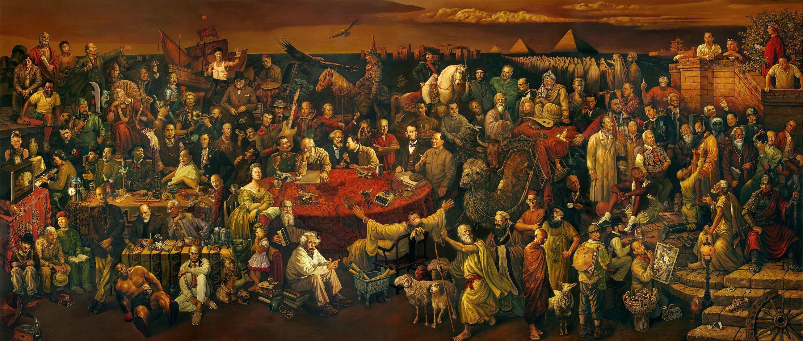 FANTASTIC painting Putin, Einstein, Chaplin, Tyson, Bruce