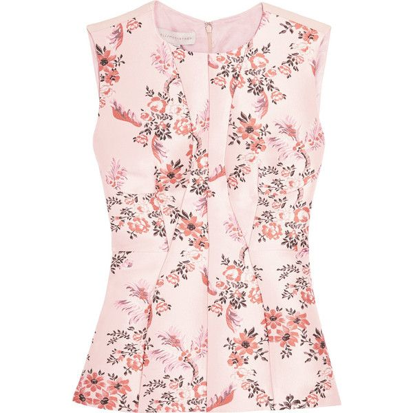 Stella McCartney Floral-jacquard and crepe top (8.741.975 IDR) ❤ liked on Polyvore featuring tops, stella mccartney, blush, colorful tops, flower print top, pink tops and floral tops
