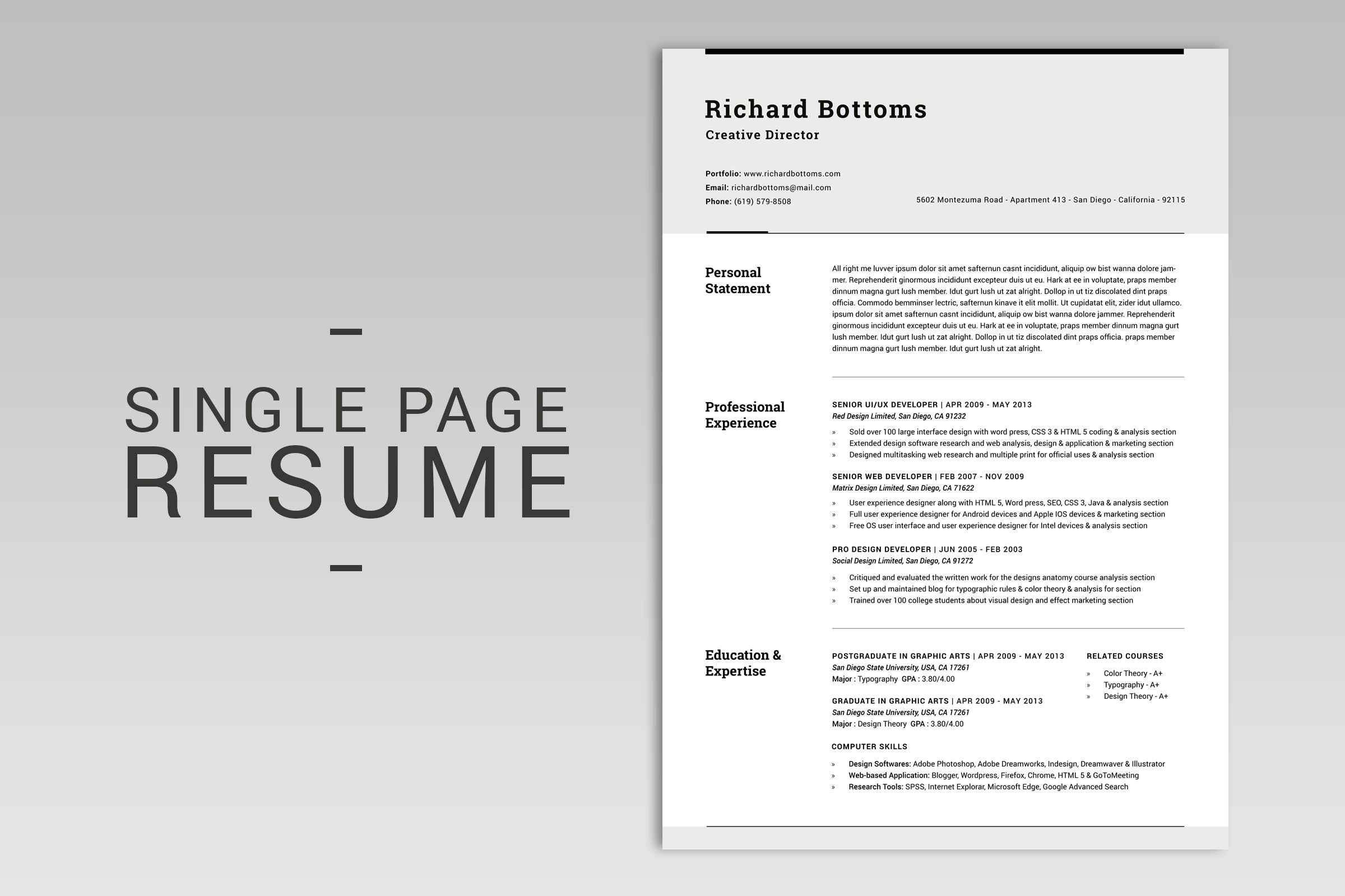 all in one modern resume box v 2 by snipescientist on  creativemarket